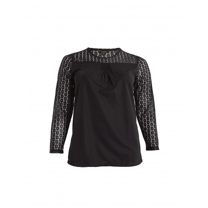 black long sleeve lace tee