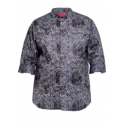 3/4 sleeve printed chambray shirt in charcoal