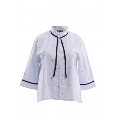 3/4 sleeve bow neck mandarin collar top in light blue